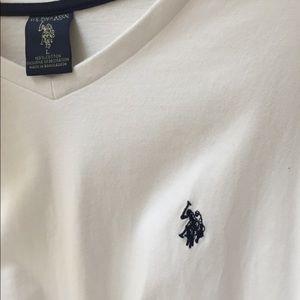 U.S. Polo Assn. Men's White V-Neck Shirt